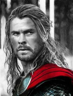 My second (decent) traditional portrait of Chris Hemsworth, this time as Thor. Avengers Drawings, Avengers Art, Marvel Art, Marvel Heroes, Thor Drawing, Thor Wallpaper, Marvel Comic Universe, Celebrity Drawings, Amazing Drawings