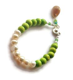 Made with ❤️ Pearl Bracelet, Spring Green Jewelry, Wooden Beads Beach Bracelet, Flower Girls Bracelet with N...  https://www.etsy.com/listing/265322926/pearl-bracelet-spring-green-jewelry?utm_campaign=crowdfire&utm_content=crowdfire&utm_medium=social&utm_source=pinterest