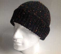 Mens Dark Green Fleck Aran Beanie Hat   Hand Knitted by sewmoira