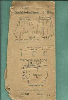 Vintage 1907 The Pictorial Review 7256 Pattern Girl's Bloomers or Drawers  Size 14 Years Old Girls