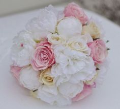 Pink rose, ivory peony and vanilla rose bouquet. See more here: https://www.etsy.com/listing/175073486/wedding-flowers-wedding-bouquet-keepsake?ref=shop_home_active_19