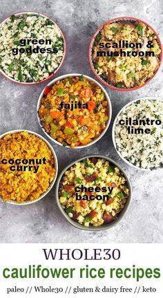 Change up your cauliflower rice with these 6 new cauliflower rice recipes! From coconut curry fajita green goddess cheesy bacon and more! Healthy paleo gluten & dairy free keto friendly vegan friendly ready in under 10 minutes! - Eat the Gains Paleo Menu, Whole Food Recipes, Vegetarian Recipes, Cooking Recipes, Healthy Recipes, Paleo Dairy, Paleo Food, Keto Recipes, Raw Food