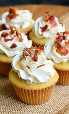 Maple Bacon Cupcakes. Soft maple cupcakes with a hint of bacon topped with maple buttercream frosting, crispy bacon bits and a touch of maple syrup. from willcookforsmiles.com