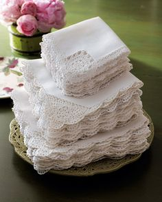 Crochet-Edge Tea Napkins, Set of 12 traditional table linens. Have a set of these from my grandmother; Vintage Tea, Vintage Lace, Vintage Party, Vintage Crochet, Do It Yourself Wedding, Linens And Lace, White Linens, Napkins Set, White Napkins