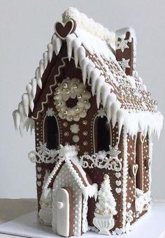Christmas Love, Christmas Goodies, Christmas Desserts, Christmas Treats, Christmas Baking, Christmas Decorations, Xmas, White Gingerbread House, Homemade Gingerbread House
