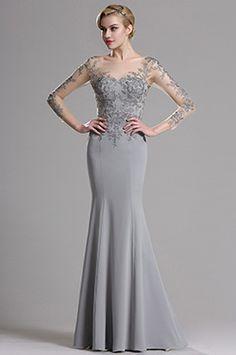 eDressit Illusion Neckline Floral Applique Prom Evening Dress (26162708)