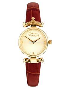 Agrandir Vivienne Westwood - VV090GDBR - Montre-bracelet en cuir marron à motif orbe