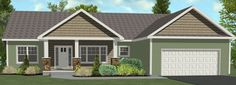 ranch style house front porch -  open porch with walkway