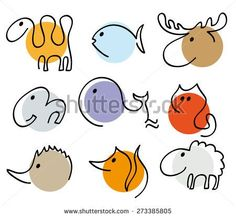 different animals silhouettes in one line, collection of simple recognizable vector illustration, camel, fish, elk, elephant,whale,cat,hedgehog,fox,sheep, isolated design elements, linear logo objects