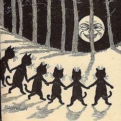 Cuz we have all seen blood moon photos tonight ... #louiswain #bloodmooncripmoon #cats #illustration #drawing #moon by llewmejia