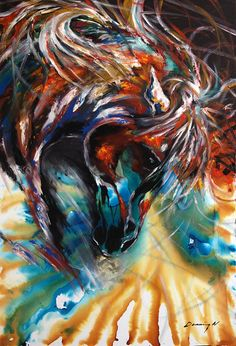 Horse Painting Equine Abtract Original Contemporary Canvas Art XTREME USA