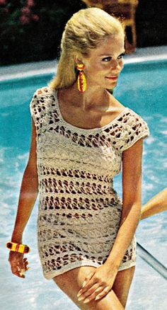 I've always loved this vintage 1960's Crochet Beach / Pool / Swim Cover Up! I have the original pattern magazine issue somewhere.