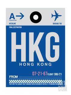 HKG Hog Kong Luggage Tag 1 Art Print by NaxArt at Art.com