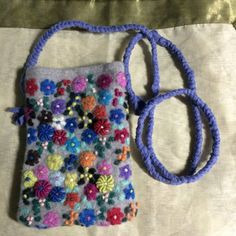 Felt floral bag yellow blue pink gift bag by mcleodhandcraftgifts