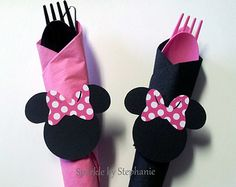 Minnie Mouse Napkin Rings with Silverware and Napkins - Set of 12+ - You choose the bow