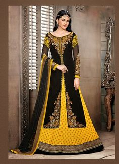 Contemporary Black & Yellow Lehenga Choli