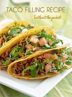 This Ground Beef Taco Recipe is made from all real food ingredients - no packets! It's easy to throw together on a busy weeknight. Kids gobble it up!