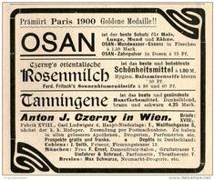 Original-Werbung/Inserat/ Anzeige 1903 : OSAN MUNDWASSER / CZERNY WIEN - ca. 90 x 80 mm