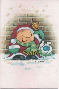 Ziggy Christmas Card, 1991, Forget Me Not Cards, Tom Wilson, good shape, Used, Vintage, Santa, Dog, Bell