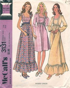 Boho Dress High Waist Square Neckline flutter Sleeves Vintage McCalls 3131 Sewing Pattern Size 14 Bust 36 Misses Vintage Dress Patterns, Clothing Patterns, Vintage Dresses, Vintage Outfits, 60s And 70s Fashion, Retro Fashion, Vintage Fashion, Fashion Fashion, Fashion Ideas