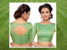 Boat neck designs cutting and stitching methods boat neck with back open. Saree Jacket Designs, Saree Blouse Neck Designs, Kurta Neck Design, Fancy Blouse Designs, Boat Neck Saree Blouse, Saree Dress, Chudidhar Neck Designs, Blouse Designs Catalogue, Style Sportif