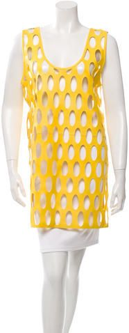 Yellow Miu Miu sleeveless leather tunic with scoop neck and laser cut oval cutout accents. Tunics Online, Laser Cut Leather, Laser Cutting, Miu Miu, Scoop Neck, Tunic Tops, Style Inspiration, Stylish, App State