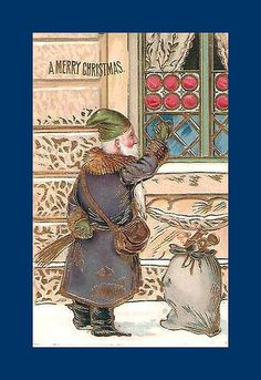 A rap on the window 1909 Christmas And New Year, Vintage Christmas, Christmas Time, Old World, Snowman, Rap, Santa, Merry, Window