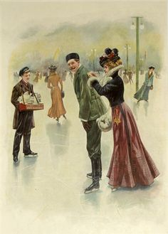 Ice skating in the park, 1920 Germany