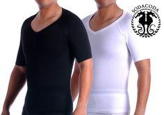 SODACODA Cotton Compression V Neck Undershirt Shapewear T-Shirt, Mens Shapewear Short Sleeve (S-XL)