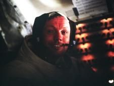 Astronaut Neil A. Armstrong, Apollo 11 Commander, inside the Lunar Module as it rests on the lunar surface after completion of his historic moonwalk. 1930-2012