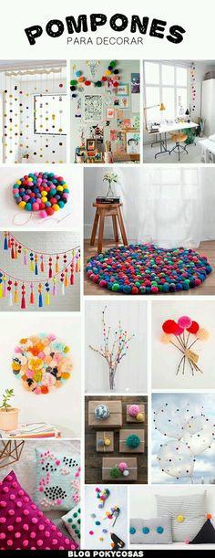 Decorating with Pompoms / Pompones para decorar / DIY home decor ideas Home Crafts, Diy And Crafts, Crafts For Kids, Fall Crafts, Holiday Crafts, Craft Projects, Projects To Try, Craft Ideas, Diy Ideas