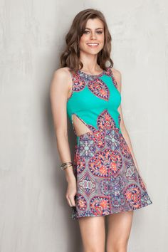 Vestido recortes laterais estampado biarritz | Dress to