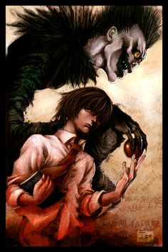 Death Note - Light Yagami and Ryuk. I'd heard of this show for years but only recently got around to watching it and I certainly enjoyed it. The audience is torn between rooting for Light/Kira and rooting for L. It's intense and a great anime for fans of murder mysteries, detective shows, and the paranormal.
