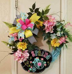 Hello Spring Grapevine Wreath, Spring Wreath, Spring Decor, Grapevine Wreath,Everyday Wreath, Hello Spring Wreath,Mothers Day Wreath, Spring by SouthTXCreations on Etsy