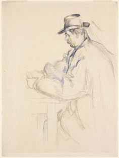 RISD Museum: Paul Cézanne, French, 1839-1906. The Card Player, ca. 1890-1892. Graphite and watercolor on wove paper. 48.6 x 36.2 cm (19 1/8 x 14 5/16 inches). Gift of Mrs. Murray S. Danforth 42.211