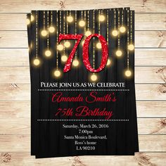 Light gold and red  birthday party invitations, Elegant 70th Birthday Party Gold…