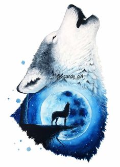 The Moon and the Wolf – Mixed Media Animal Paintings and Drawings by Jonna Lammi… Der Mond und der Wolf – Mixed Media Animal Paintings and Drawings von Jonna Lamminaho Wolf Painting, Painting & Drawing, Beautiful Drawings, Cool Drawings, Animal Paintings, Animal Drawings, Wolf Artwork, Wolf Spirit Animal, Wolf Pictures