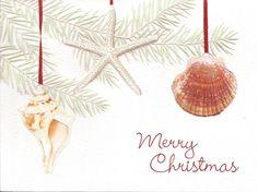 Ocean Ornaments Embossed Christmas Cards