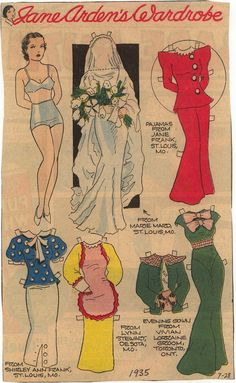 7-28-1935 | Jane Arden's Wardrobe | Quite a nice set coming from the Sunday comic section of a newspaper.