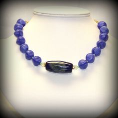 Beaded Agate Necklace in Periwinkle and Mint by SunsetJewelsCo