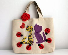 OOAK Canvas Tote Bag with Sweet Cats and Ladybugs by fairstore, $85.00