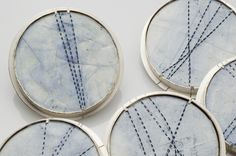 Kate Cathey  - brooches - sterling silver, encaustic, oil paint  fabricated