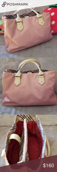 8810288c1990 Burberry Blue Label Pink Canvas Handbag ♡ This is a great every day summery  handbag from
