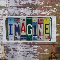Upcycled license plates!  Great for little boys room especially if they love cars or trucks!