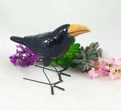 Ceramic Houses, Ceramic Birds, Bird Sculpture, Pottery Sculpture, Animal Sculptures, Crow Bird, Floral Texture, Raven Art, Wall Ornaments