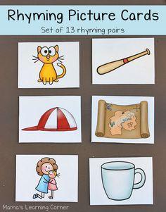 Preschool and Early Kindergarten - Mamas Learning Corner Rhyming Activities, Kindergarten Literacy, Early Literacy, Preschool Learning, Preschool Ideas, Teaching Ideas, Rhyming Pairs, Rhyming Words, Education And Literacy