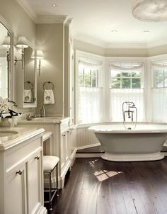 Suzie: John B Murray Architect – Lovely bathroom for two with gray walls paint color, …