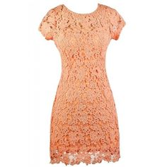 Forest Foliage Crochet Lace Dress in Peachy Pink ($25) ❤ liked on Polyvore featuring dresses, crochet lace dress, lily dress, lacy dress, red dress and lacy red dress