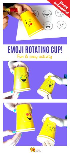 Emoji Rotating Cup Game for Kids - 10 Minutes of Quality Time - Paper Games Paper Games For Kids, Summer Activities For Toddlers, Kids Party Games, Diy Projects For Kids, Easy Crafts For Kids, Diy For Kids, Project Ideas, Craft Ideas, Feelings Games