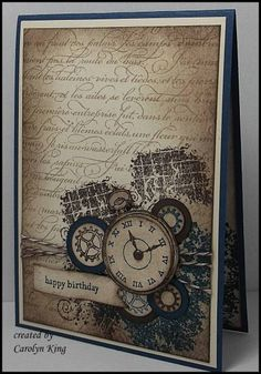 love the way they use the background stamp, matching twine and the birthday banner with the Clockworks4
